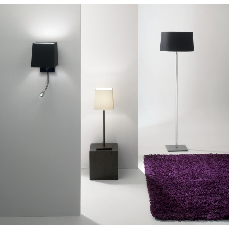 wandlampe mit eckigem schirm und flexiblem led licht azumi classic led wall square leselampen. Black Bedroom Furniture Sets. Home Design Ideas
