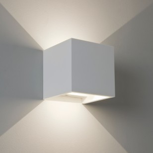 LED-Wandleuchte in Quaderform, Gips weiß PIENZA LED